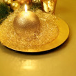 Golden Christmas candle. Still life. — Stock Photo