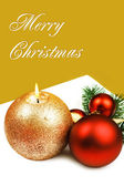Christmas candle and baubles, greeting card. — Stock Photo