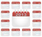 Calendar 2013 year — Stock Vector
