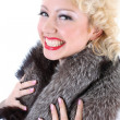 Picture of surprised woman with fur collar — Stock Photo #11793992