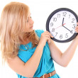 Stock Photo: Woman with the clock