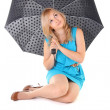 Young woman with umbrella on white background — Stock Photo