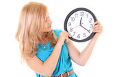 Woman with the clock — Stock Photo