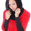 Young woman in red and black poncho — Stock Photo #13662741