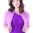 Woman in violet warm dress — Stock Photo