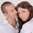 Young couple in white — Foto de Stock