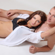 Stock Photo: Womin lingerie and naked man