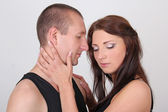 Pretty woman hugging her boyfriend — Stock Photo
