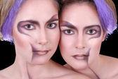 2 つの美しい双子の肖像画を閉じる — ストック写真