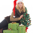 Woman with presents and tree isolated on white - Stock Photo