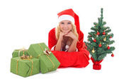 Woman in santa claus costume — Stock Photo