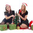Stock Photo: Two girls sitting and decorating the tree