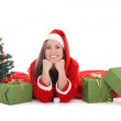 Stockfoto: Happy santwith tree and presents