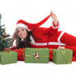 Happy santa with tree and presents — Stock Photo