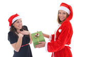 Santa gives present for happy girl — Stock Photo