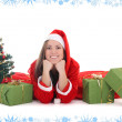 Happy santwith tree and presents — Foto de stock #14287503