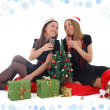 Stock Photo: Two girls sitting and drinking champagne