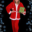 Beautiful girl in santclause costume with gift — Foto de stock #14287631