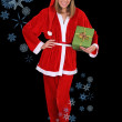 Beautiful girl in santa clause costume with gift — Stock Photo