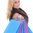 Stock Photo: Young attractive woman after shopping