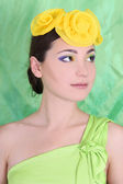 Portrait of woman with accessory on head — Stock Photo