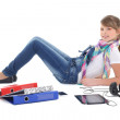 Teenage girl listening music with tablet pc — Stock Photo
