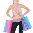 Attractive teenage girl posing with shopping bags — Stock Photo