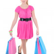 Portrait of teenage girl with shopping bags over white — Stock Photo