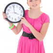 Teenage girl with clock isolated over white — Stock Photo