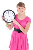 Adolescente con reloj aislado en blanco — Foto de Stock