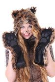 Portrait of attractive girl in cat costume — Stok fotoğraf