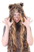 Portrait of attractive girl in cat costume over white — Stock Photo