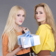 Portrait of two teenage girls with a gift box — Stock Photo