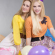 Stock Photo: Teenage girls with balloons at a birthday party