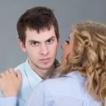 Young beautiful woman embracing her boyfriend — Stock Photo