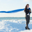 Portrait of young woman with blue scarf on winter beach — Stock Photo