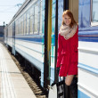 Attractive woman boarding a train — Stock Photo #25007275