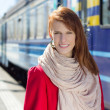 Portrait of beautiful woman waiting for train on the platform — Stock Photo #25007311