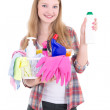 Young blond with cleaning equipment isolated on white background — Stock Photo