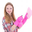 Young woman in pink gloves cleaning — Stock Photo