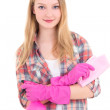Young attractive woman in pink rubber gloves with spray and rag — Stock Photo