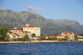 Houses with red roofs on the coast of Tivat — Stock Photo