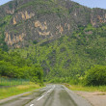 Winding mountain road in Montenegro — Stock Photo