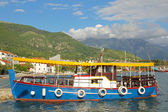 Colorful water bus in port of Tivat — Stock Photo
