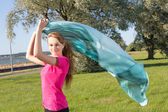Girl in park with shawl — Foto Stock