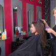 图库照片: Beautiful female hairdresser working in beauty salon