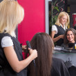 Stock Photo: Female hairdresser straightening woman's hair in beauty salon