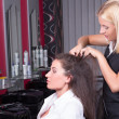 Stock Photo: Portrait of professional hairdresser working in beauty salon