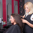 Young beautiful hairdresser at work — Stock Photo