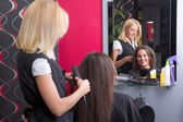 Female hairdresser straightening woman's hair in beauty salon — Stock Photo